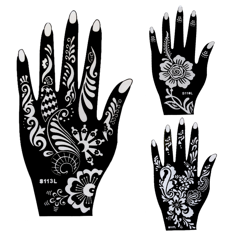 10pcs large henna tattoo stencils flower glitter airbrush mehndi indian henna tattoo templates. Black Bedroom Furniture Sets. Home Design Ideas