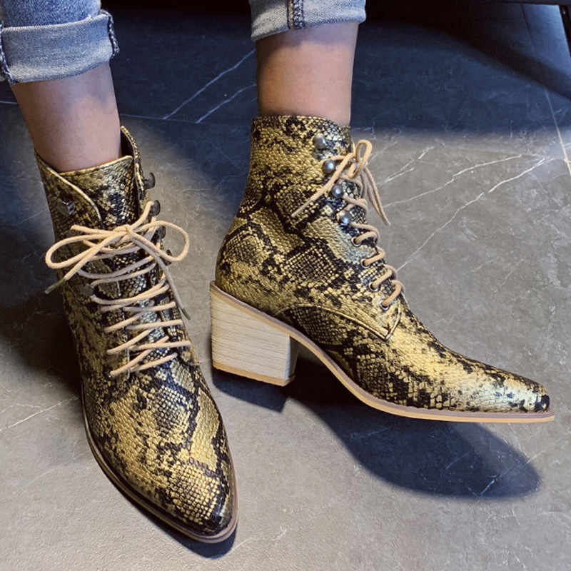 Winter Frauen Lace Up Ankle Stiefel Pu Leder Schlange Gold Hohe Ferse Punkt Zehe Plattform Weibliche Motorrad Schuhe Damen Pumpen