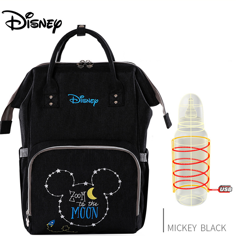 Disney Waterproof Diaper Large Baby Bag USB Bottle Travel Backpack Mummy Bag