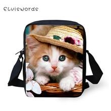 ELVISWORDS Children Messenger Bags Small 3D Cute Cat Printed Shoulder Bag Handbags Adorable Casual Satchel Mochilas Fimininas