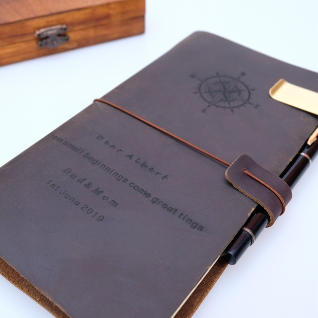 Free Engrave 100% Genuine Leather Travelers Notebook travel Diary Journal Planner Vintage Handmade Cowhide Gift  customized DIY