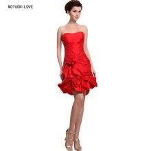 100% реальное изображение элегантное красное короткое платье