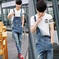 2016 Spring Summer Fashion Casual Men's Ripped Hole Denim Bib Pants , Man Cool Stylish Jeans Jumpsuits And Overalls Men Rompers