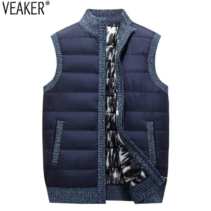 2019 New Men's Thick Vest Coat Male Autumn Winter Sleeveless Sweatercoat Knitted Down Vest Sweaters Jacket Outerwear M-3XL