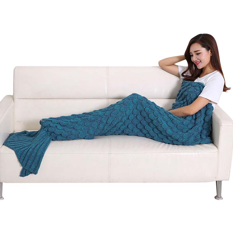 Sofa Maternity Kids Adults Yarn Knitted Mermaid Tail Air Conditioner Blanket Soft Sleeping Bed Handmade Crochet Portable Blanket winter thickening warm cotton mermaid tail sofa blanket blanket pure handmade wool knitted carpet nap fashion leisure blanket