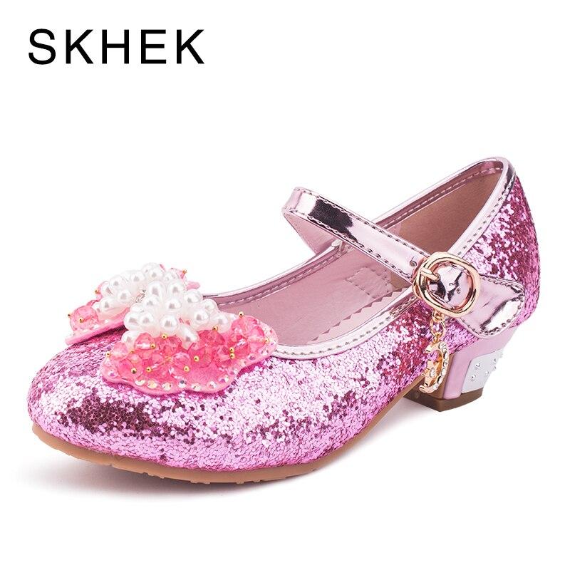 SKHEK nouveaux enfants chaussures enfants chaussures de mode d'été filles chaussures belle diamant arc enfants haute qualité princesse sandales