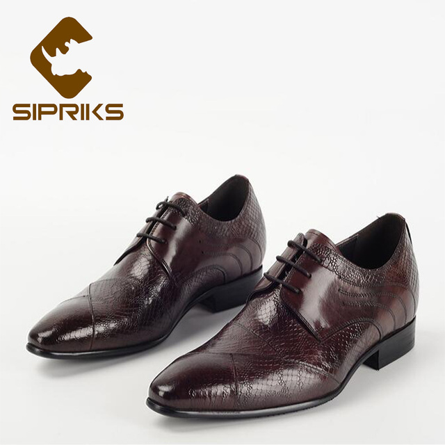 2a15cd35850 Sipriks Men Elevator Shoes Luxury Mens Formal Shoes Leather Pointed Toe  Derby Flats Elegant Hidden Heel Shoes For Men European