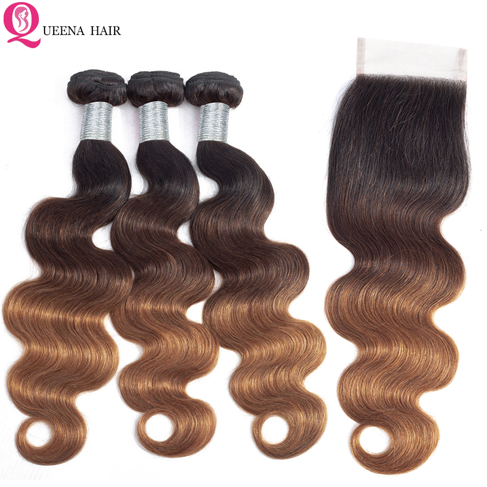 Queena Cambodian Hair Ombre  Body Wave Hair Bundles With Closure Remy 1B/4/30 Colored Human Hair 3 Bundles With 4x4 Lace Closure