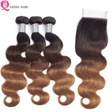 Queena Cambodian Hair Ombre Body Wave Hair Bundles with Closure Remy 1B/4/30 Colored Human Hair 3 Bundles With 4x4 Lace Closure(China)