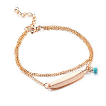 Double Chain Leaf Anklets Gold Silver Color Feather Ankle Bracelets For Women Blue Beads Charm Barefoot Sandals Leg Foot Jewelry(China)