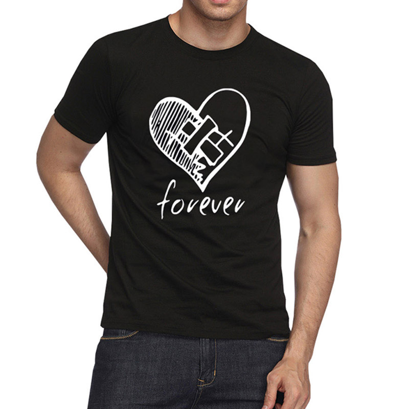 2019 Men Fashion Heart Black T-shirt (White Print) New Cotton T Shirts Brand Clothing Tops Tees