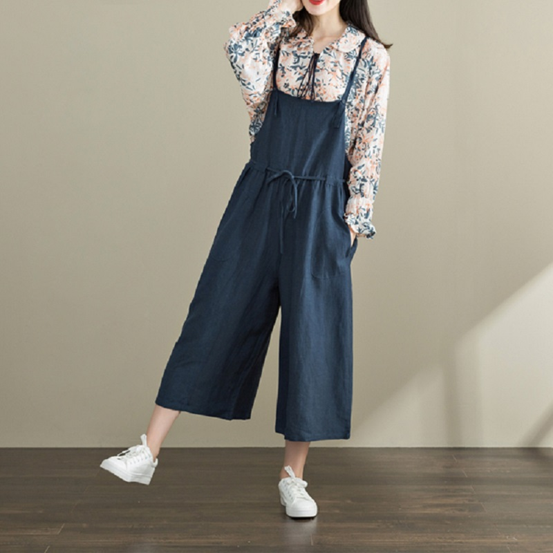 f33bdb10899 Japan Style Spring Summer Women Solid Overalls Strap Backless Linen Female Jumpsuits  Navy Blue Sleeveless Rompers With Pockets-in Jumpsuits from Women s ...