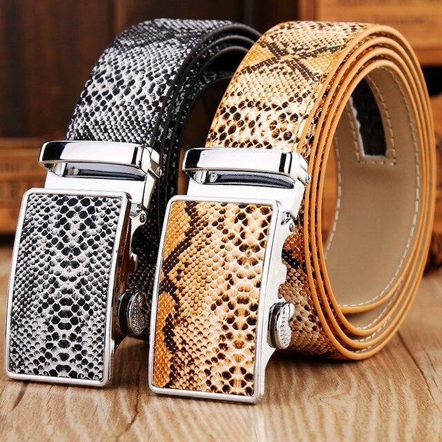 Змея кожа натуральная кожа автоматическая пряжка ремня 2017 новый горячий ceintures мужские ремни роскошь дизайнер высокое качество роман ковбой