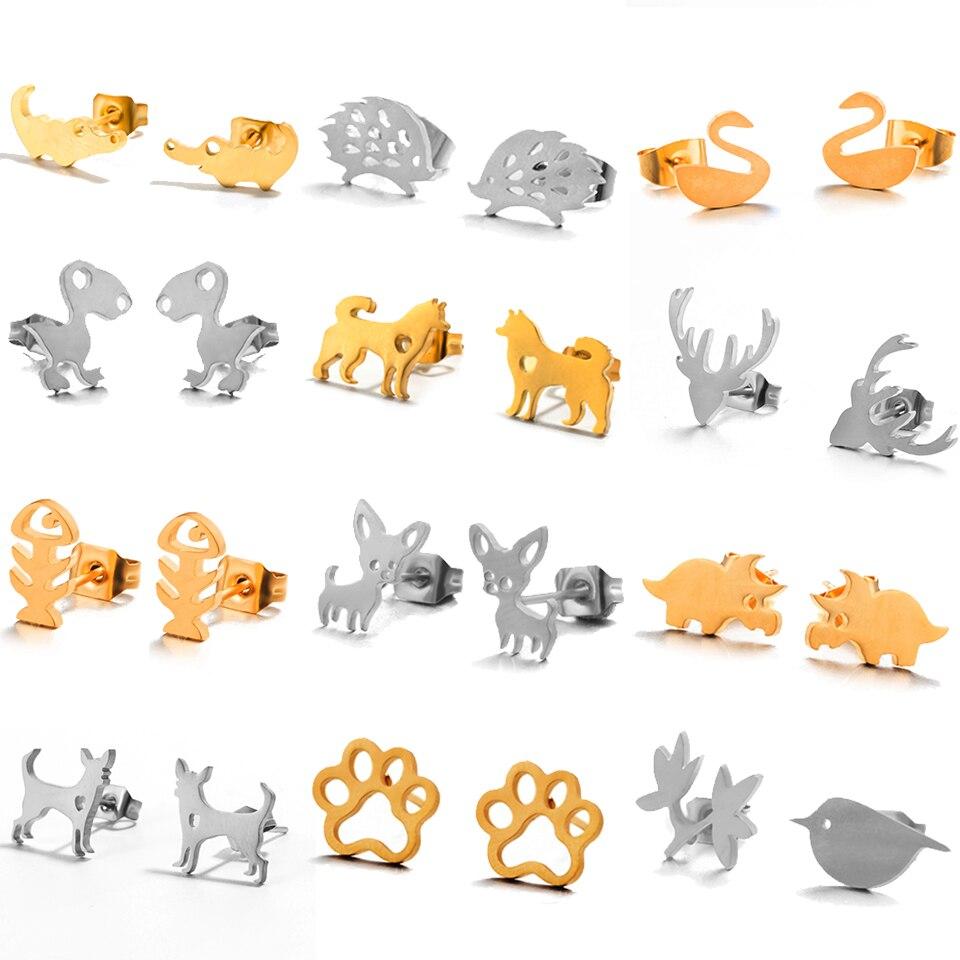 2018 Fashion Gold Silver Punk Simple Animal Earrings For Women Dog Fox Cat Ear Stud Earring Fine Jewelry Geometry Brincos Bijoux