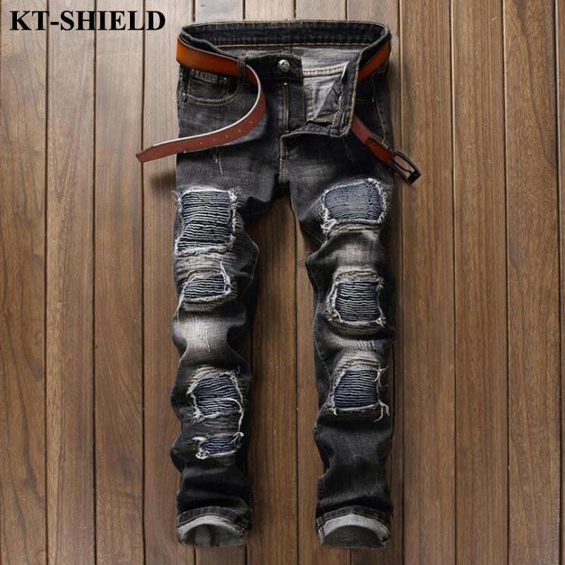 New design Ripped Jeans Men Cotton Fashion Black Denim Pants for Man Biker Streetwear Trousers Male