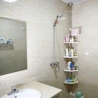 4 Tier Telescopic Bathroom Corner Shelf Rack With Stainless Steel Foothold Shower Chuck Corner Storage Rack Kitchen Organizer