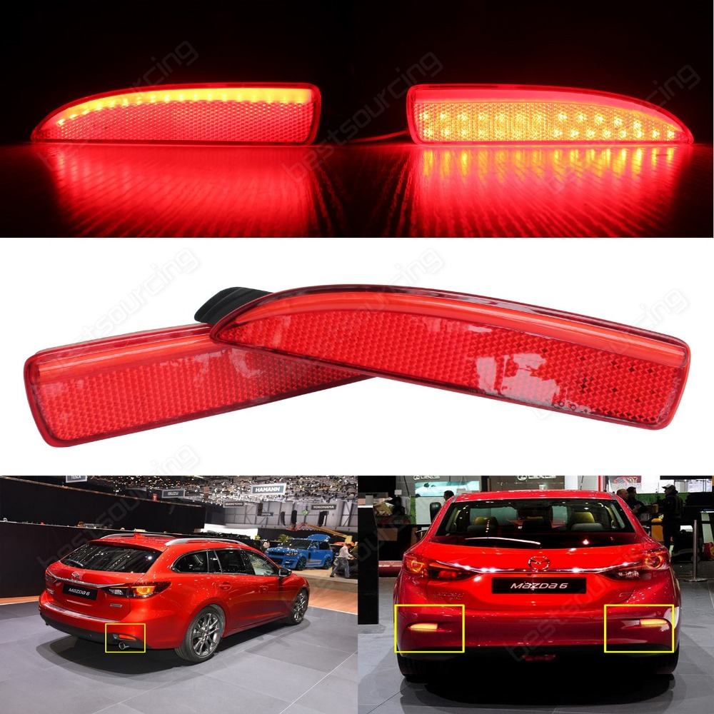 2 pcs LED Rear Bumper Reflector Brake Stop Light Mazda6 Atenza Mazda2 DY Mazda 3 Axela  (CA240)