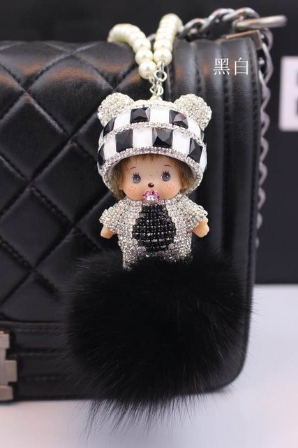 9Colors Monchhichi Key Chain 8CM Fox Fur Ball Monchhichi Crystal Keychain porte clef keyrings llaveros 2016 New Arrival