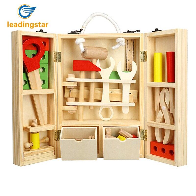 RCtown enfants boîte à outils en bois ensemble Construction jouets en bois jouets pour enfants semblant jouer enfants outil jouet ensemble zk30