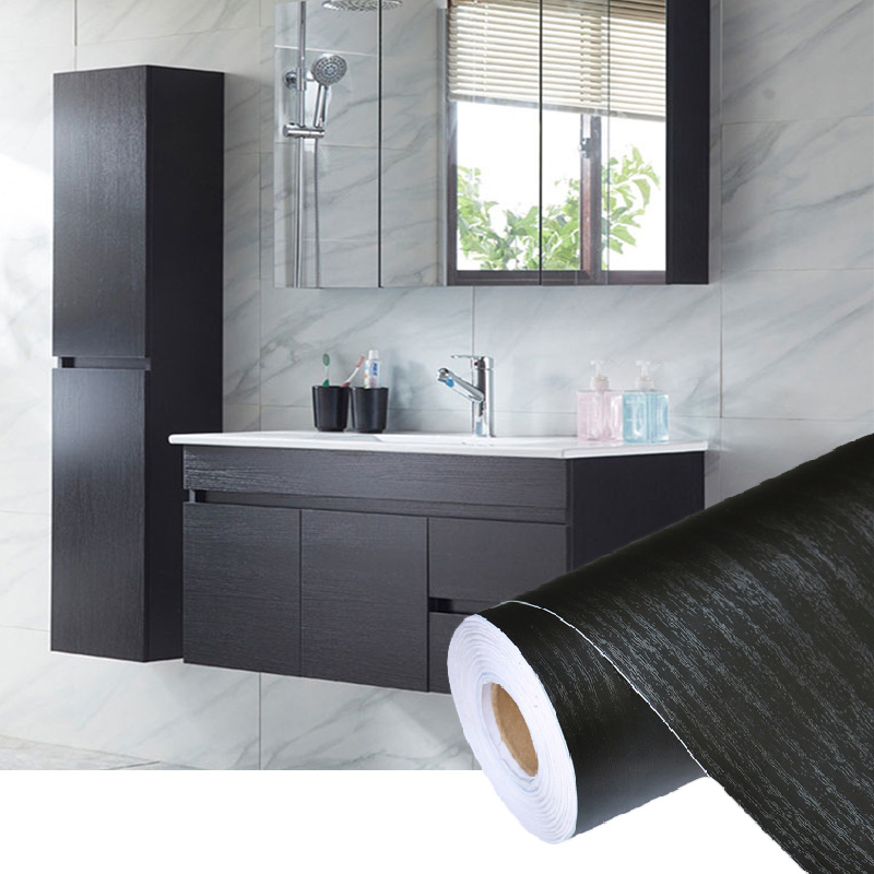 Pvc Self Adhesive Waterproof Black Wood Wallpaper Roll For Furniture Door Desktop Cabinets Wardrobe Vinyl Wall
