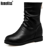 KemeKiss Size 34 43 Women Half Short Snow Boots Inside Heel Thick Fur Shoes Women Wedges
