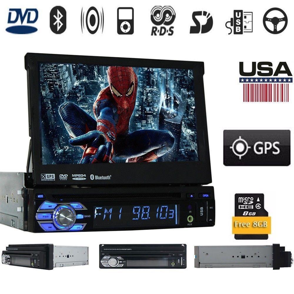 1 Din dans le pont voiture casstte stéréo Headunit GPS Navigation commande au volant écran tactile iPod AM FM Radio DVD MP4 Bluetooth