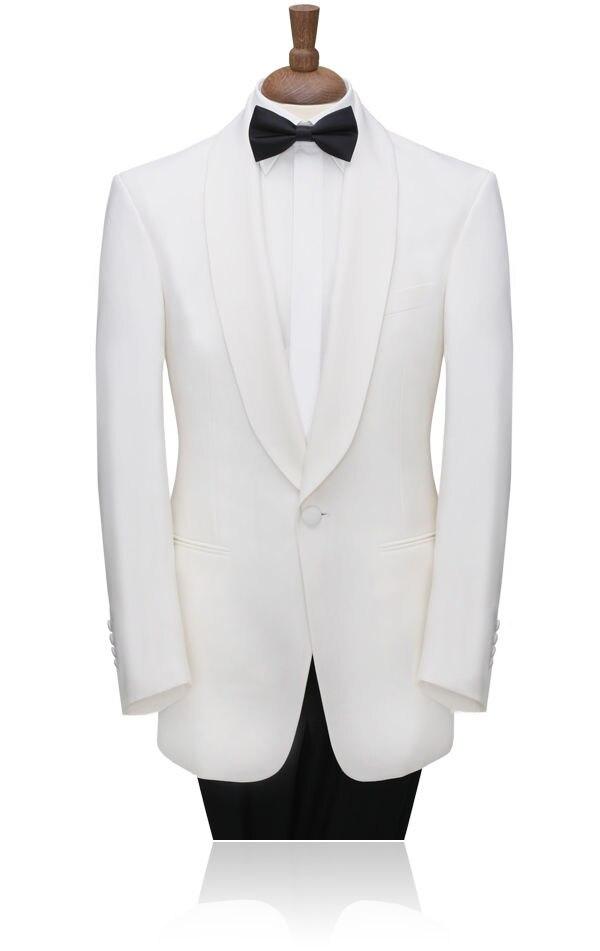 Das Beste Weiße Anzüge Männer Schal Kragen Bräutigam Smoking Slim Fit 2019 Wolle Bluten Worested Volumen Groß Anzüge