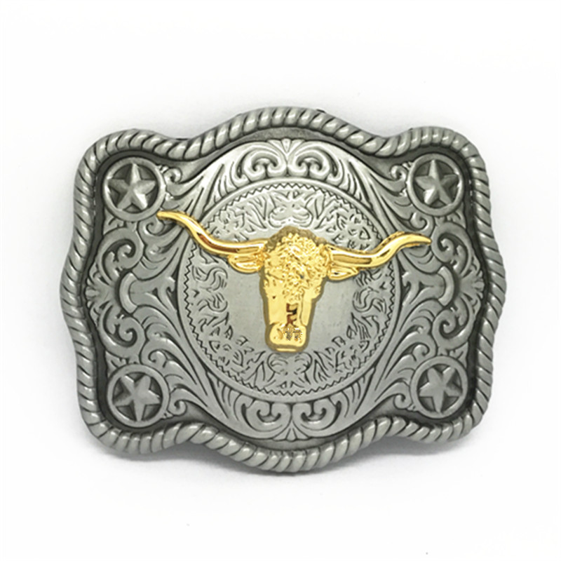 Western Cowboy Belt Buckle Retro - Type Bull-head Belt Buckle For A 4.0 Belt