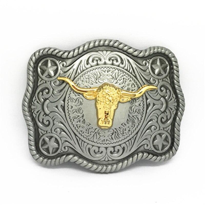 Western Cowboy Belt Buckle Retro - Type Bull-head Belt Buckle For A 4.0 Belt