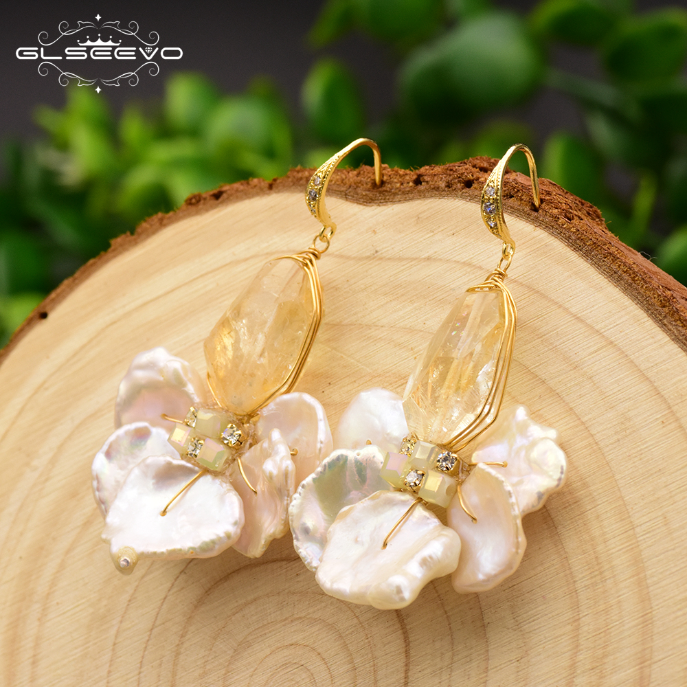 GLSEEVO Original Natural Fresh Water Baroque Pearl Drop Boho Earrings For Women Gifts Dangle Earrings Fine