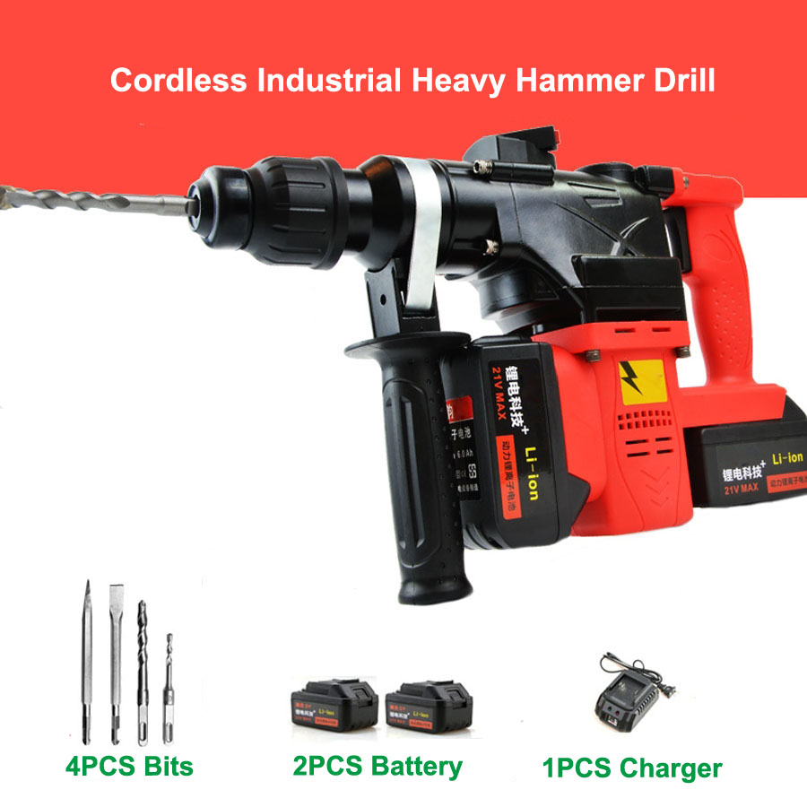 8000 10000 18000mAh Heavy Wall Hammer Cordless Drill Rechargeable Lithium Battery Electric Hammer Impact Drill