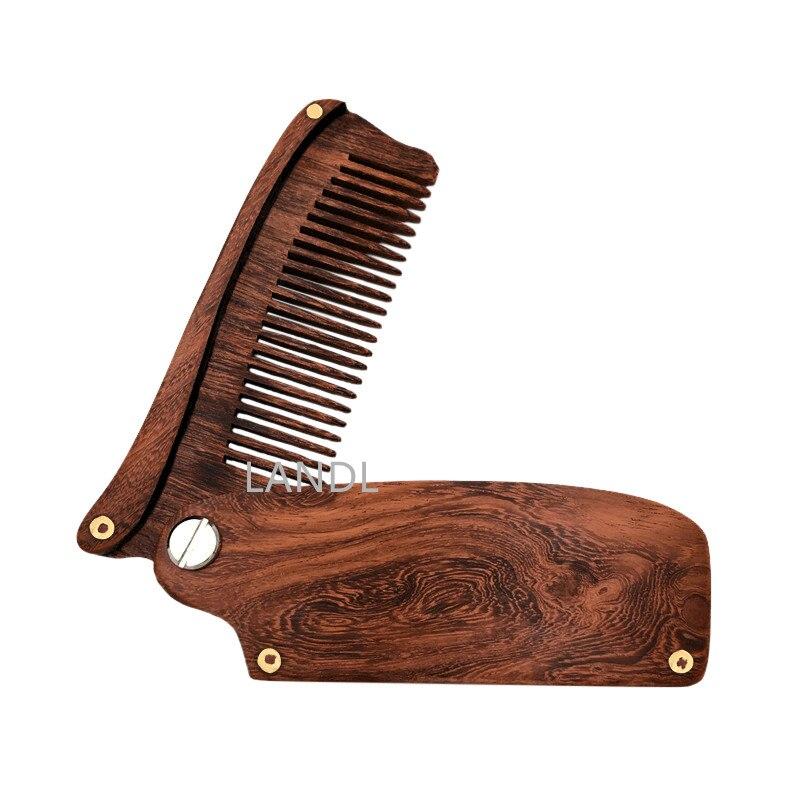 New Arrival Black Sandalwood Fine Tooth Pocket Folding Comb All Hair Types Beard Mustache Brush L-B10T
