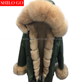 New winter army green jacket women outwear thick parkas natural real fox fur collar Beige Khaki rabbit fur coat hooded pelliccia
