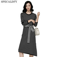 2018 Autumn Winter Knitted Dress Women White And Black Stiped Casual Long Sweater Dresses Side Split