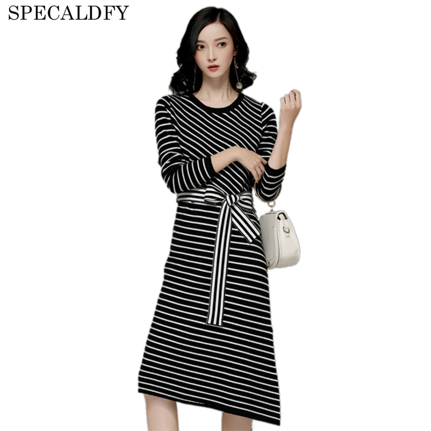 2018 Autumn Winter Knitted Dress Women White And Black Stiped Casual Long Sweater Dresses Side Split Pullover Vestidos Mujer 2018 autumn