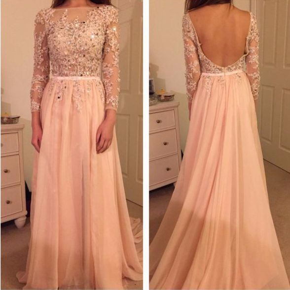 Elegant A-line Lace   Evening     Dress   With Long Sleeves Pink Chiffon Open Back Rom   Dress   2019 Appliques Beaded Crystal Formal Gowns
