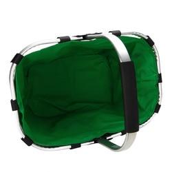 1pcs Foldable Eco Shopping Basket Carry Bag Folding Aluminium Frame Collapsible Handles Storage Baskets Mayitr