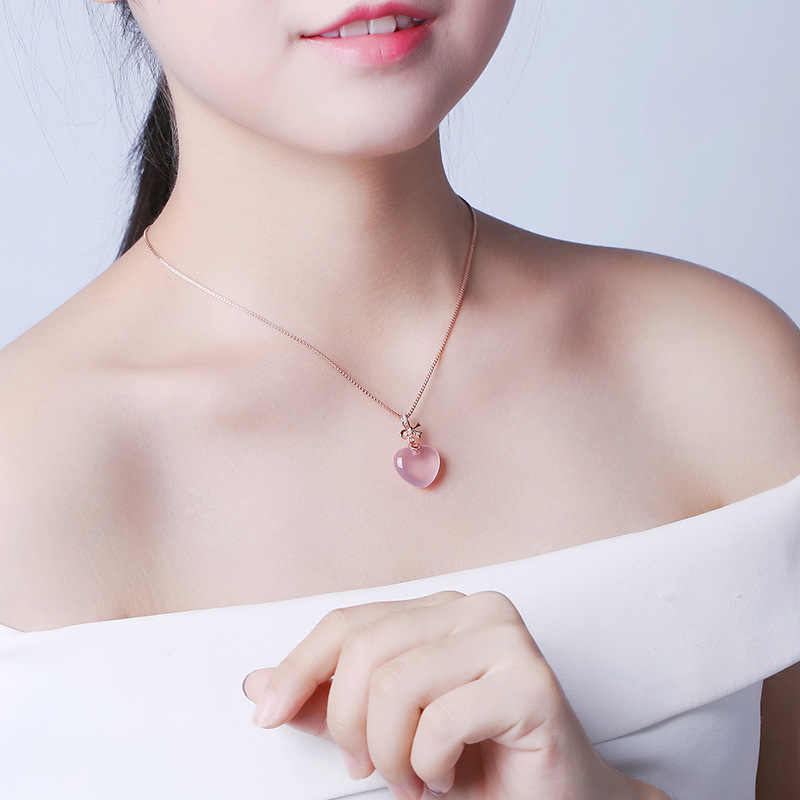 MOONROCY Rose Gold Color Chokers Pink Opal Necklace Ross Quartz CZ Heart for Women Girls Gift Dropshipping Jewelry Wholesale
