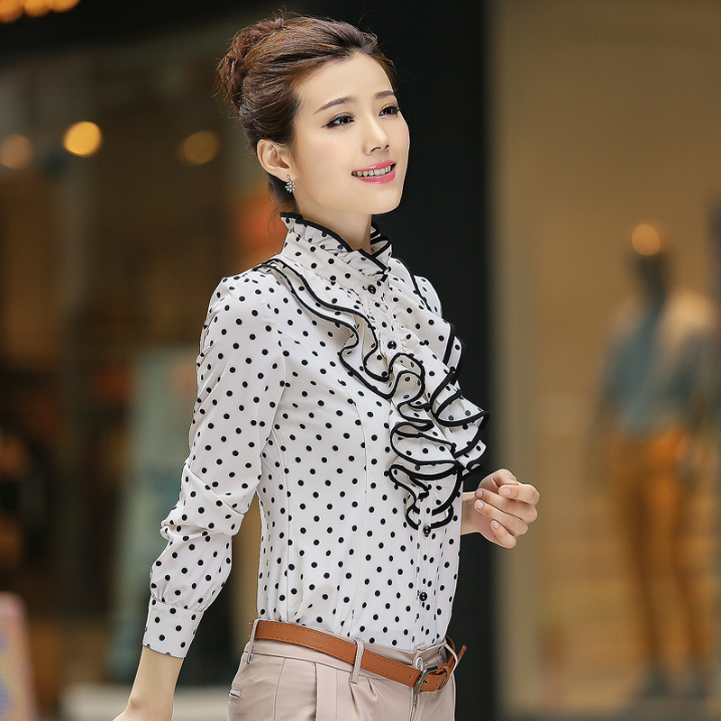f2b6d710e2732f New 2015 Vintage Chiffon Dots Formal Ruffles Top Shirt Puff Long Sleeve Plus  Size Black White Women Polka Dot Blouse Ropa Mujer