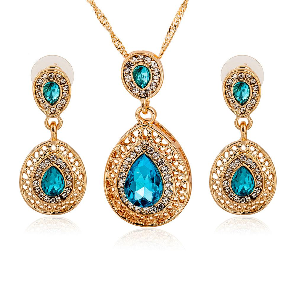 Wedding Bridal Dress Accessories Jewelry Sets For Women Water Drop Crystal Necklace Earrings Set Holiday Party