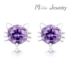 Plata 925 Sterling Silver Earrings Jewellery Crystal Cat Stud Earrings Pure 925 Silver Earrings Brincos Pendientes de plata