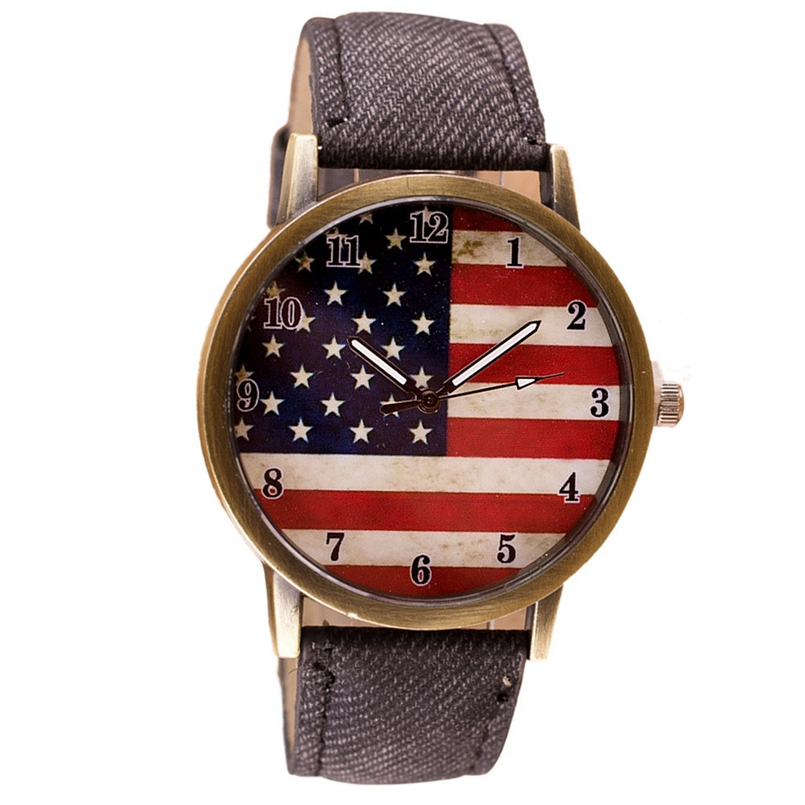 Excellent Quality Watch Women Watches Famous Brands American Flag Pattern Leather Band Analog Quartz Vogue Wrist Watches #cn01