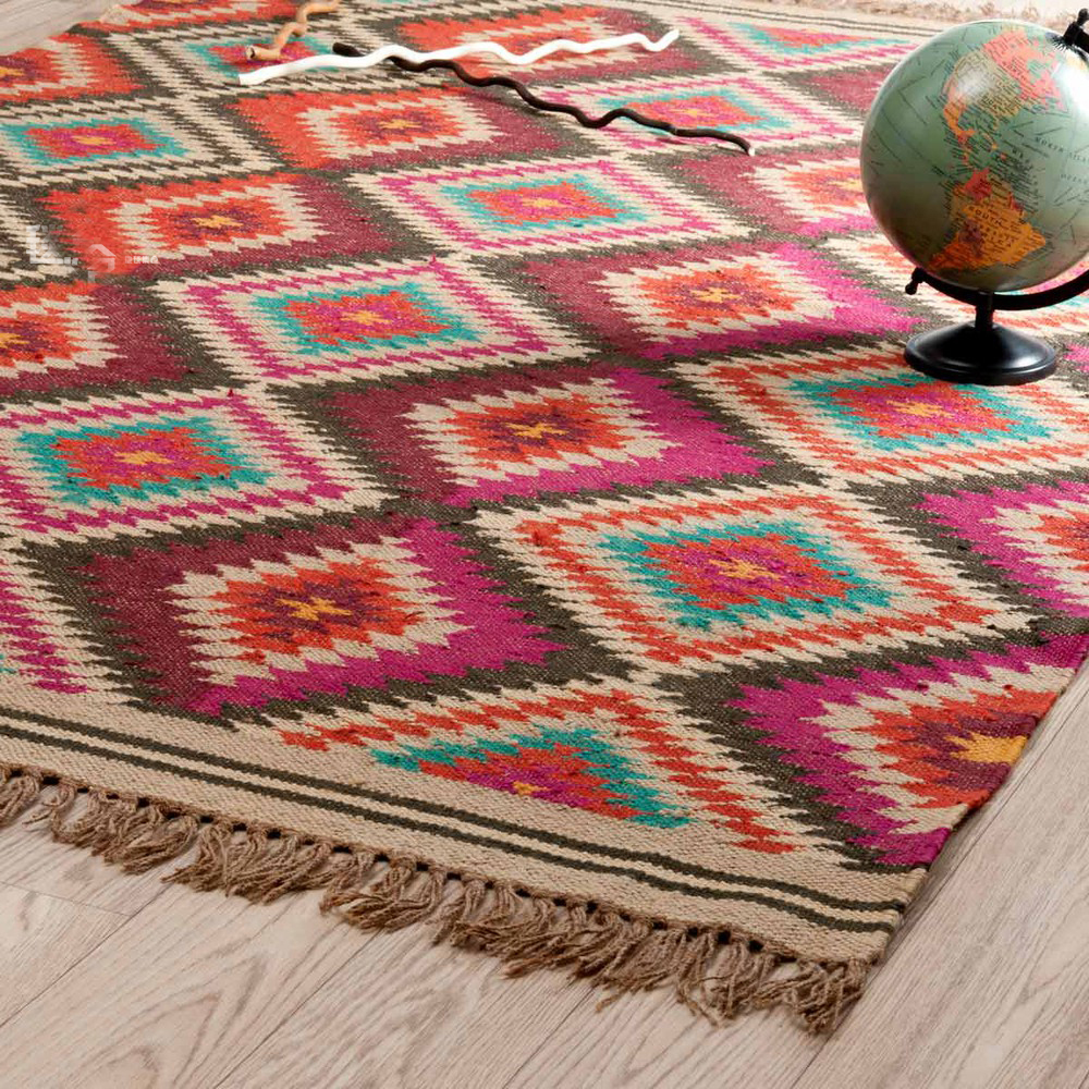 100% Wool Kilim Carpet Geometric Bohemia Indian Black White Pink Rug Plaid Striped Modern  Contemporary Design Iran Nordic Style