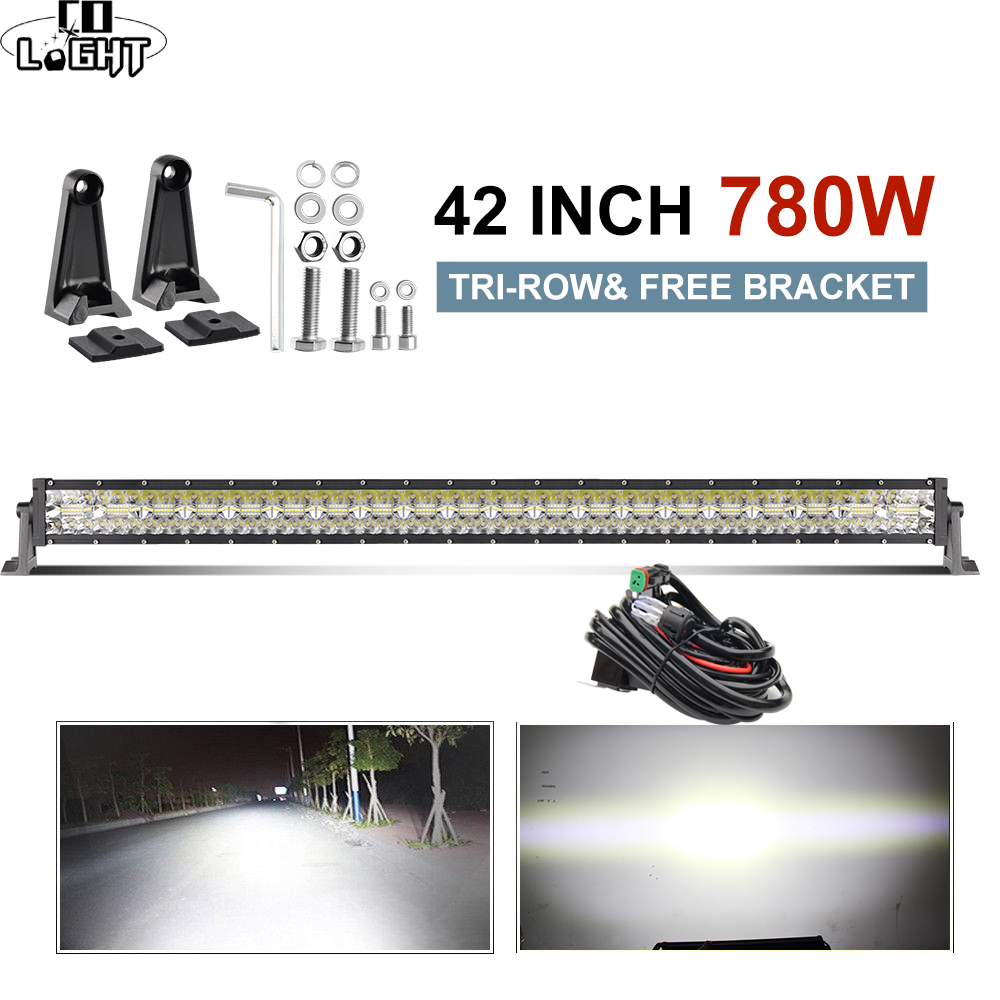 CO LIGHT Led Light Bar 42 7D 780W Offroad LED Bar Combo 3 Row for Jeep