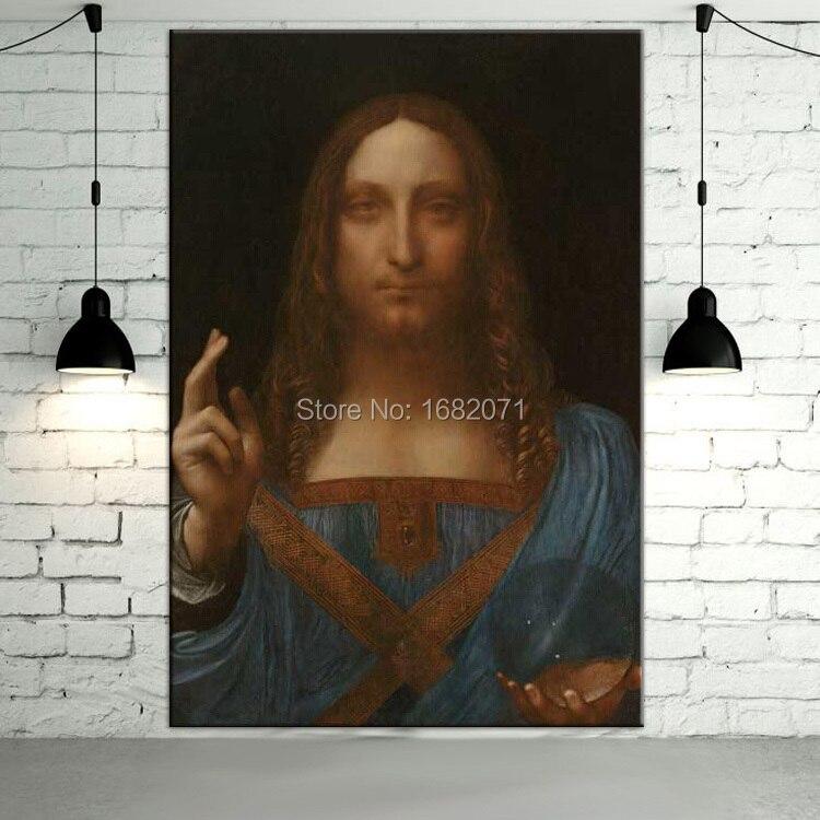 Leonardo Da Vinci Illustration Célèbre Salvator Mundi Peinture À L'huile Sur Toile Reproduction Salvator Mundi Portrait Peintures À L'huile