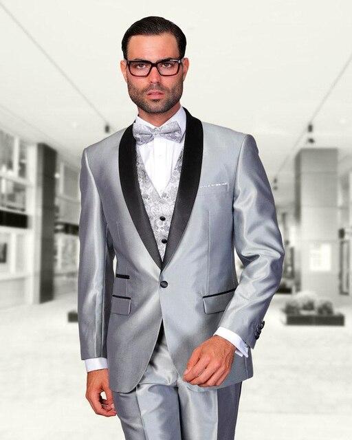 Shiny Silver Beach Wedding Groom Suits With Black Shawl Lapel ...
