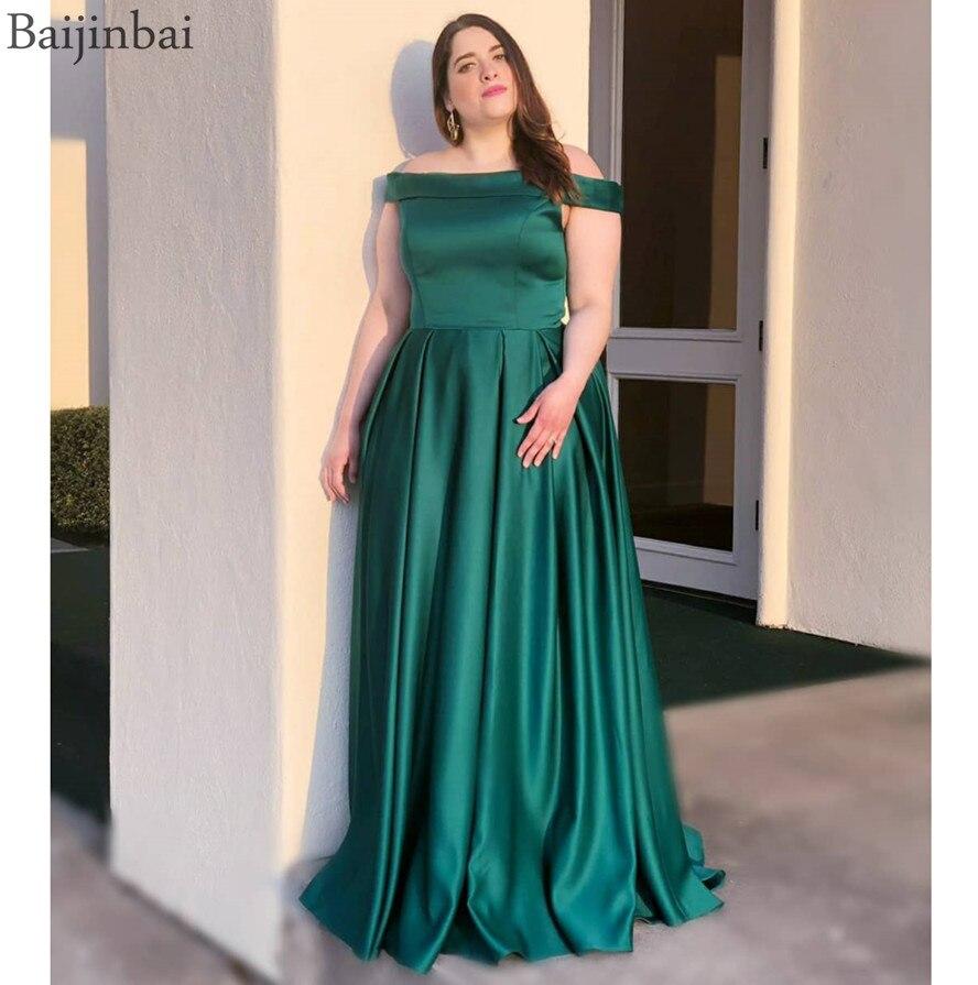 Baijinbai Emerald robe de soiree Off Shoulder Long Prom Formal Dresses Longo A-Line Party Dress Satin Evening Gowns For Women