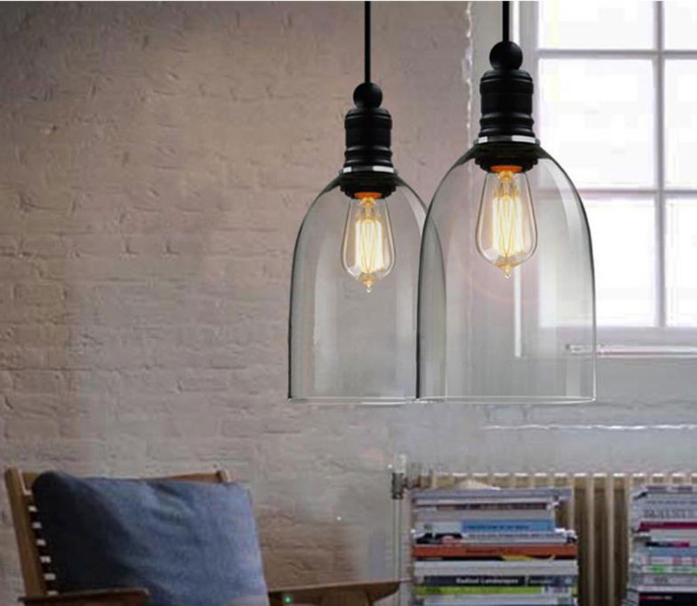Lampes suspendues vintage américain fer blanc verre suspension cloche E27 110 V 220 V pour salle à manger décor à la maison planétarium