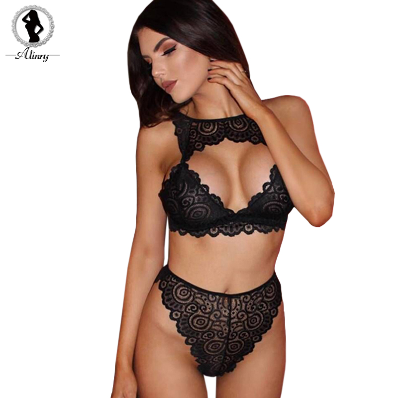 ALINRY sexy bra set hot women floral lace transparent push up halter lingerie bralette wire free breathable hollow out underwear