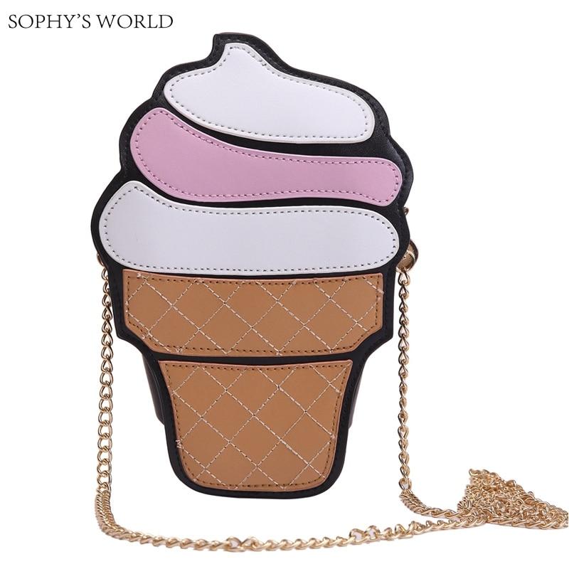 Mujeres lindas de la Historieta Del helado de La Magdalena Mini Bolsos de Cuero